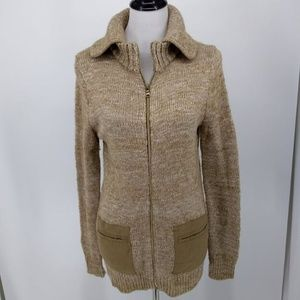 Gap Small Sweater Beige Zip Front Patch Pockets